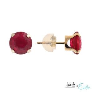 10K Gold Stud Earrings with 7mm Genuine Ruby